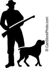 Hunter silhouette with dog