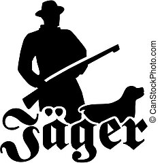 Hunter silhouette with rifle german