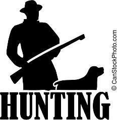 Hunter silhouette with rifle