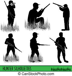 Hunter silhouettes - Six different hunter silhouettes...