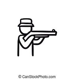 Hunter sketch icon.