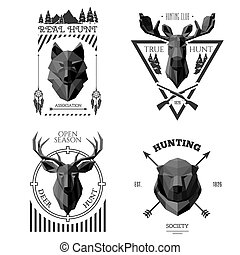 hunter socirty wolf - Hunting head labels. Origami animals...