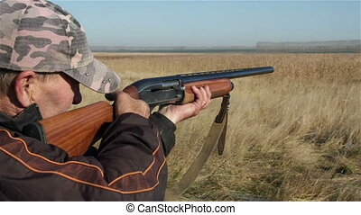 Hunter - a shot from a hunting rifle