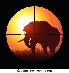 Hunter targeting an elephant