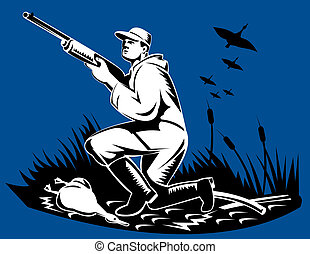 Hunter to the side with rifle and goose - Illustration of a...