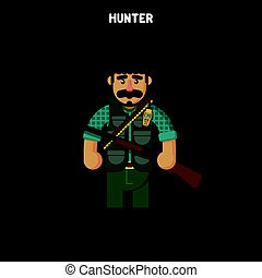 hunter. Vector illustration, flat, cartoon style