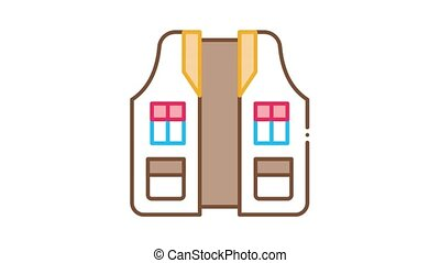 Hunter Vest Icon Animation. color Hunter Vest animated icon on white background