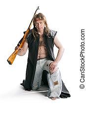 Hunter with a gun