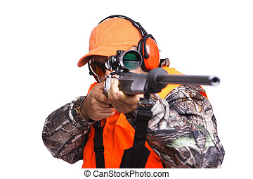 close up of a Hunter aiming a rifle while wearing camouflage clothing, isolated on white