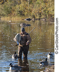 Hunter with decoys