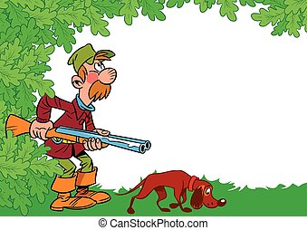 Hunter with dog - The illustration shows a male hunter with...