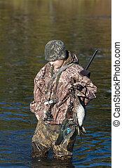 Hunter with ducks