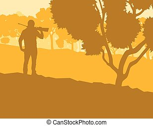 Hunter with gun with forest trees landscape vector