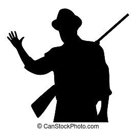 Hunter with rilfe waving hand greeting