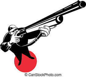 Hunter with shotgun overhead view - Illustration of a hunter...