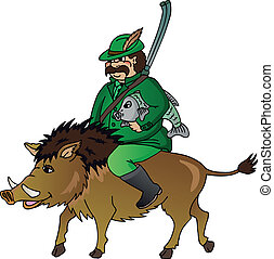 Hunter with wild boar - vector illustration.