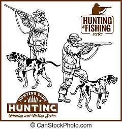Hunters With Dogs - Retro Clipart Illustration - vector set