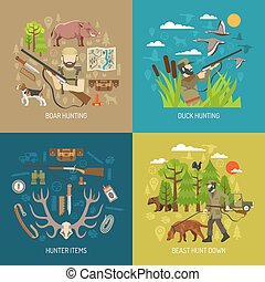 Hunting 2x2 Design Concept Set
