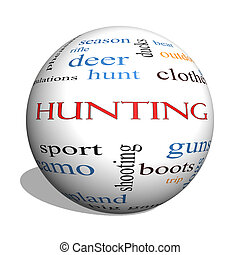 Hunting 3D sphere Word Cloud Concept