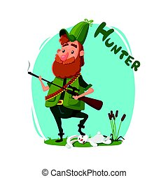 Hunting. A hunter with a gun in his cap and in jelly retrieved a rabbit. Reeds, grass, animals. Vector illustration, cartoon style