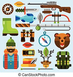 Hunting and Fishing Icons Set - Hunting and fishing icons...