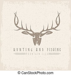 hunting and fishing mountain club emblem with duck deer and fish