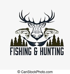 hunting and fishing vintage emblem vector design template