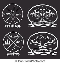 hunting and fishing vintage emblems set