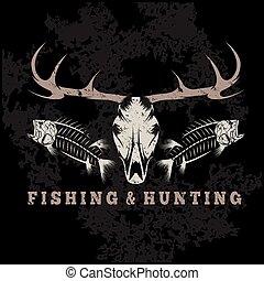 hunting and fishing vintage grunge emblem with skulls of...