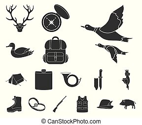 Hunting and trophy black icons in set collection for design. Hunting and equipment vector symbol stock web illustration.