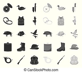 Hunting and trophy black. mono icons in set collection for design. Hunting and equipment vector symbol stock web illustration.