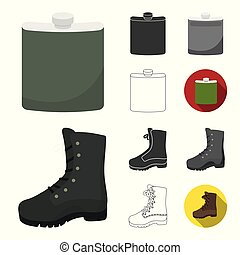 Hunting and trophy cartoon, black, flat, monochrome, outline icons in set collection for design. Hunting and equipment vector symbol stock web illustration.