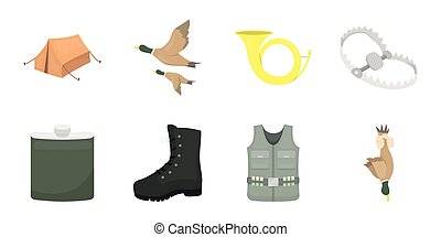 Hunting and trophy icons in set collection for design. Hunting and equipment vector symbol stock web illustration.