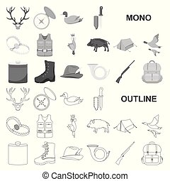 Hunting and trophy monochrom icons in set collection for design. Hunting and equipment vector symbol stock web illustration.