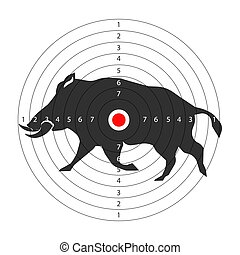 Hunting animal target vector icon template for aper hog hunt...