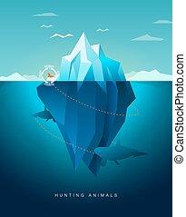 hunting animals - killer whale hunting seal around iceberg