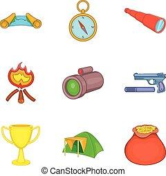 Hunting area icons set, cartoon style
