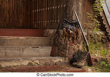 hunting birds, gun and accessories, horizontal, outdoors