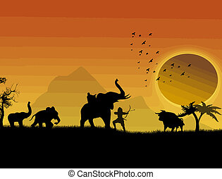Hunting buffalo with elephants on jungle landscape at...