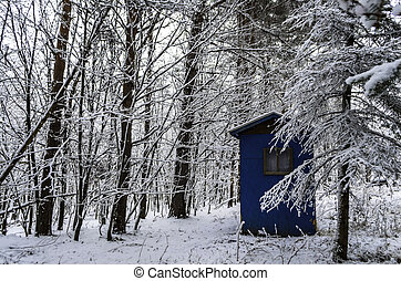 Hunting cabin in a Snowy Forest