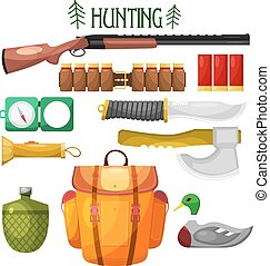 Hunting cartoon Icons. Set of vector cartoon icons of hunting. Illustration for hunting