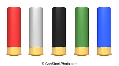 3d render of hunting cartridges isolated over white background