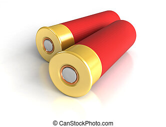 3d render of hunting cartridges over white background