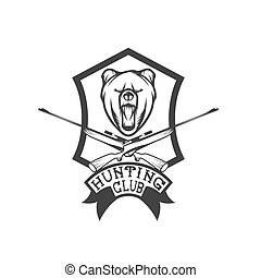 hunting club crest with carbines and bear