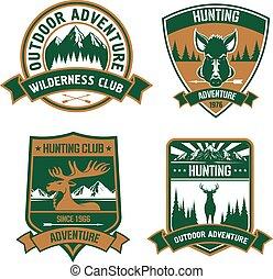 Hunting club emblem icons