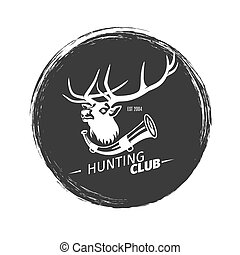 Hunting club grunge logo with deer