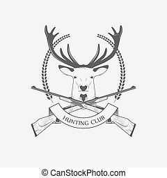 Hunting Club icon with a rifle and deer