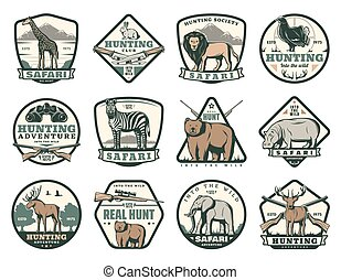 Hunting club icons with animals and hunter rifles