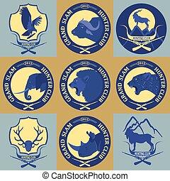Hunting club label collecton. Grand safari logos and budges....