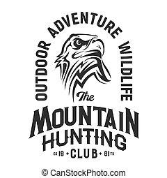 Hunting club mascot, eagle t-shirt print